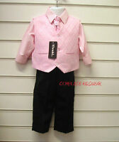 Boys Pink Black 4 Piece Suit Wedding Pageboy Party Formal Occasion Age 9-12 mts