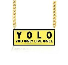 Popular Trends Short Resin Bold Plexiglass YOLO , YOU ONLY LIVE ONCE Black GOLD