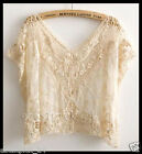 FREE GIFT ~VTG HIPPIE festival floral SHEER CROCHET lace Wedding dress tunic TOP