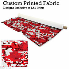 RED CAMOUFLAGE DESIGN PER METRE FABRIC LYCRA SATIN JERSEY CHIFFON  FROM £15.99