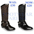 New Ladies Quilted Buckle Flat Mid Calf Boots Womens Shoes Size UK 3 4 5 6 7 8