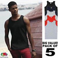 5 PACK OF MENS BASIC ATHLETIC VESTS FRUIT OF THE LOOM - CHOOSE YOUR COLOUR