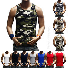 Men's Plain T-Shirts Tank Top Muscle Camo Sleeveless Tee S~3XL A-Shirt Cotton