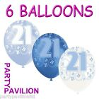 Blue White 21st Birthday Helium Balloons / Balloon - Age 21 Party Decorations