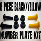 8 PIECE NUMBER PLATE BOLTS NUTS CAPS SCREWS MOTORCYCLE YELLOW BLACK (FWS)