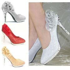 Glitter Lace Rose Flowers Evening Party Prom Women Bridesmaid Wedding High Heels