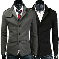 Mens Casual Slim Fit Suit Stylish Button Blazer Jacket Coat Black/Grey in M L +