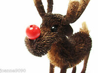 Gisela Graham Christmas Gift Tree Decoration Bristle Rudolf Reindeer Ornament