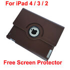 360° Rotating iPad 4 iPad 3 iPad 2 Brown Leather Cover Case+ Screen Protector