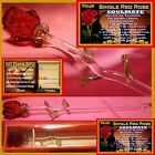 SINGLE RED ROSE GLASS FLOWER SOULMATE GIFT VALENTINES DAY KEEPSAKE I LOVE YOU