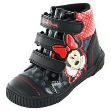 Girls Boots Official MINNIE MOUSE Disney Kids Shoes Ankle Infant Velcro Black