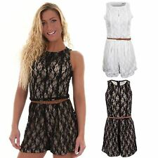 Women's Black Cream Sleeveless Zip Belt Lace Lined Ladies Playsuit Dress