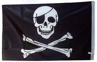 PIRATES FLAG JOLLY ROGER SKULL AND CROSS BONES 5FX 3FT 5X3 150CMX90CM