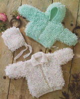 "Loopy Hooded Baby Jacket, Collared Cardy &  Bonnet Knitting Pattern DK 14"" - 24"""