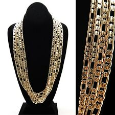Men & Lady 14K Gold Plated 8mm-12mm Figaro Link Textured Necklace Chain 30 Inch