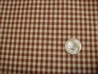 """Vintage Cotton Blend Fabric BROWN WHITE GINGHAM CHECK 44"""" Wide"""