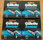 20 Gillette Sensor Original Shaver Razor Blade Refill Cartridges Genuine 4 Packs