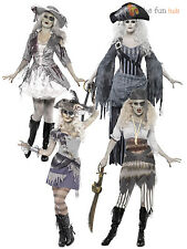 Adult Ladies Sexy Ghost Ship Zombie Pirate Costume Womens Halloween Fancy Dress