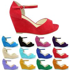 WOMENS LADIES MID LOW WEDGE HEEL SANDALS OPEN PEEP TOE PLATFORM SHOES SIZE