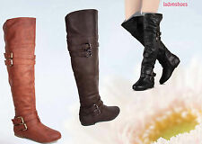 Flat Strappy Buckle Riding Knee Thigh High Boot Women's Shoes Size 6 - 10 NEW