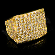 18K Gold 19mm FULLY ICED OUT 360 Simulated Lab Diamond Band MICROPAVE Mens Ring