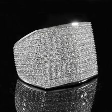 18K White Gold 19mm ICED OUT 360 Simulated Lab Diamond Band MICROPAVE Mens Ring