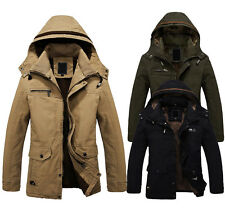 New Men's Warm Jackets Military Parka Outerwear Fur lined Long Coat Hooded