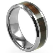 Size 7-15 Men Stainless Steel 8MM Ring Band Red Wood Inlay Wedding School Class