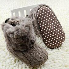 Winter Infant Baby Girls Crochet/Knit Fleece Boots Warm Soft Snow Crib Shoes M89