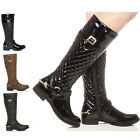 WOMENS LADIES LOW HEEL FLAT WINTER QUILTED RIDING ZIP CALF KNEE BOOTS SIZE