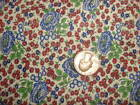 """Antique Cotton Fabric TINY RED & SHADES OF BLUE FLORAL 35"""""""