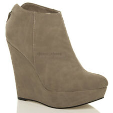 WOMENS LADIES PLATFORM HIGH HEEL WEDGE BACK ZIP SHOE BOOTS BOOTIES SIZE