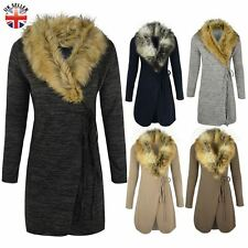 WOMENS LADIES FUR COLLAR CARDIGAN JACKET KNITTED SWEATER COAT WRAP AROUND CAPE