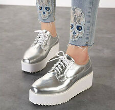 Star Love Women's Fashion Lace Up Oxford Flat High Heel Platform Shoes Silver