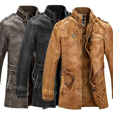 VINTAGE Mens PU Leather Coat Winter Jacket Military Army Cargo Thick Outwear TOP