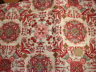"""Vintage Cotton Fabric SHADES OF PINK/GREEN/BLUE FLORAL & MEDALLION 25"""""""
