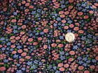 Vintage Cotton Fabric BLUE/PINK FLORAL ON NAVY