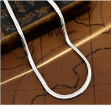 2mm Chain Necklace Jewelry 925 Sterling Silver Flat Snake Chain Pendant Necklace