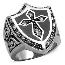 Men's Stainless Steel Celtic Cross Shield Black cz Men's Knights Templar Ring