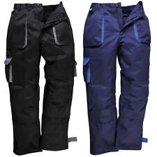 New PORTWEST Mens Practical Contrast Work Trousers in Black Navy S - XXL