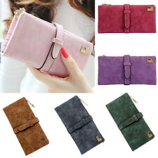 Vintage Women Leather Wallet Button Purse Long Clutch Handbag Bag Card Holder