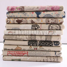 10 Vintage Europe Styles Natural Cotton Linen Fabric Cloth Sewing Craft Remnants