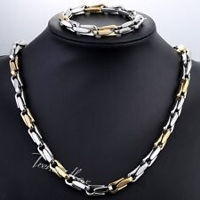 8.5mm MENS CHAIN Cable Link Silver Gold Stainless Steel Bracelet Necklace NEW