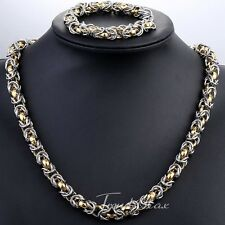 9mm Mens Chain Byzantine Gold Silver Tone Stainless Steel Bracelet Necklace Gift