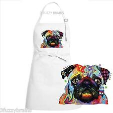 Colorful Abstract Pug Dog Face White Chef Designs Bib Apron