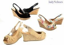 NEW Women's Lace Flower Open Toe Slingback Wedge Platform Sandal size 5.5 - 11