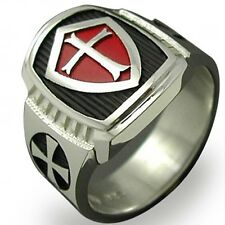 Size 7-15 Men Knight Armor Shield Templar Ring Red Cross Crusade Soldier Warrior