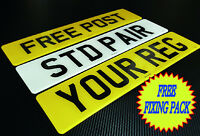 CAR NUMBER PLATES 1 PAIR REGISTRATION PLATES PLAIN NO GB FREE POST