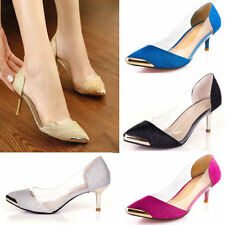 Womens Glitter Platforms Stilettos Pointed Low Heels Casual shoes Big size T36