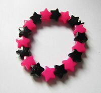 Kitsch Neon Pink and Black Plastic Star Bead Elastic Bracelet Retro Emo Goth